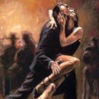 dipinto di due ballerini latini